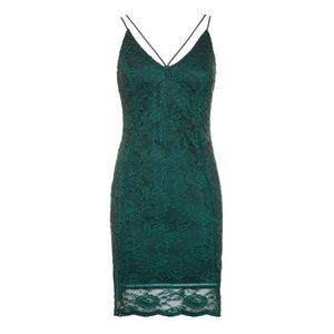 TOPSHOP Strappy Plunge Lace Camisole Dress